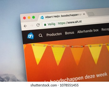 Amsterdam, The Netherlands - March 27, 2018: Official homepage of Albert Heijn, or AH. Albert Heijn is the largest Dutch supermarket chain, founded in 1887.