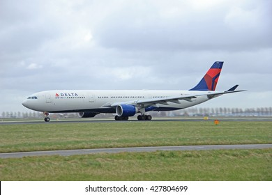 Amsterdam, the Netherlands - March, 27th 2015: N819NW Delta Air Lines Airbus A330-300  Polderbaan Runway