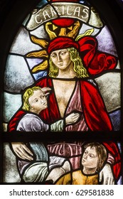AMSTERDAM, NETHERLANDS - MARCH 30, 2017 Love Faith Hope Stained Glass Window De Krijtberg Church Amsterdam Holland Netherlands. Stained Glass in De Krijtberg, Catholic Church, in Amsterdam.