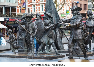 Amsterdam, Netherlands - March 31, 2016: Night Watch statue by Rembrandt in Rembrandtplein, Amsterdam, Netherlands