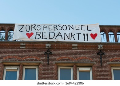 Amsterdam, The Netherlands - March 31, 2020: banner in front of hospital OLVG Amsterdam to support health care professionals in their battle against the coronavirus (Covid-19) ourbreak.
