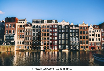 AMSTERDAM  THE NETHERLANDS - MARCH 5TH 2021 - Canal Houses in Amsterdam