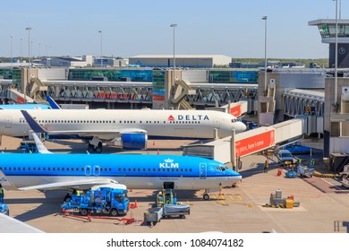Amsterdam, Netherlands - May 04, 2018: Parked Planes at Schiphol Airport