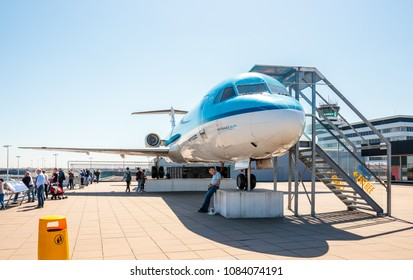 Amsterdam, Netherlands - May 04, 2018: The Fokker at the Panorama Terrace at Schiphol Airport