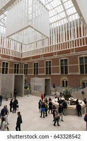 AMSTERDAM, NETHERLANDS - MAY 10, 2017: Entrance hall of the Rijksmuseum in Amsterdam