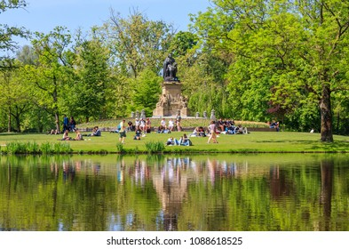 Amsterdam, Netherlands - May 11, 2018: People In Vondelpark On A Sunny Day