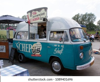 Amsterdam, Netherlands -may 11, 2018: Volkswagen t1 foodtruck selling ice cream