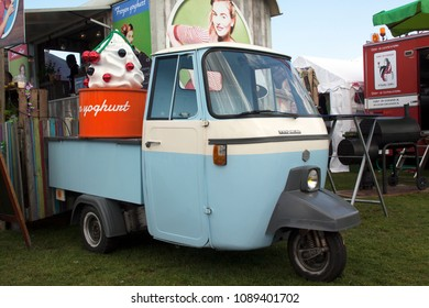 Amsterdam, Netherlands -may 11, 2018: Foodtruck selling yogurt in Amsterdam