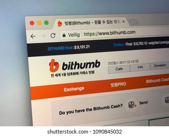 Amsterdam, Netherlands - May 13, 2018: Website of Bithumb Exchange, a South Korean cryptocurrency exchange service.