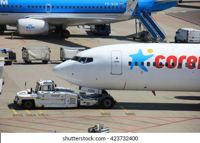 Amsterdam The Netherlands -  May 13th 2016: PH-CDH Corendon Dutch Airlines pushed back from the gate, departing to Ohrid, Macedonia
