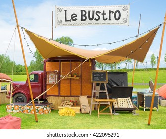 AMSTERDAM, THE NETHERLANDS - MAY 14, 2016: Mobile kitchen Le Bustro sells popular French cuisine during the annual mobile kitchens weekend, held in the city's Culture park