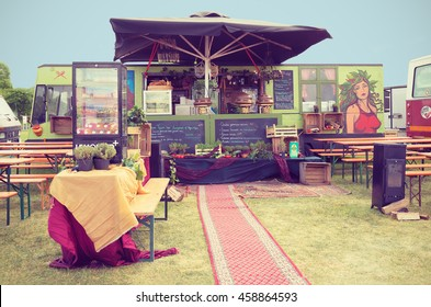 AMSTERDAM, THE NETHERLANDS - MAY 14, 2016: Mobile kitchen Peperwortel sells popular international snacks during the annual mobile kitchens weekend, held in the city's Culture park. Instagram effect