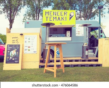 AMSTERDAM, THE NETHERLANDS - MAY 14, 2016: Mobile kitchen Meneer Temaki sells Japanese modern street food during the annual mobile kitchens weekend, held in the city's Culture park. Instagram style