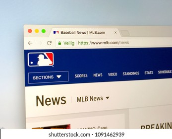 Amsterdam, Netherlands - May 15, 2018: Official homepage of mlb.com, Major League Baseball or MLB, a professional baseball organization, the oldest professional sports leagues in the U.S. and Canada.
