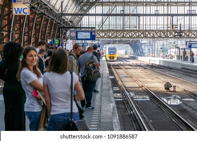 Amsterdam, Netherlands - May 15, 2018: Train Arriving At Amsterdam Central Station