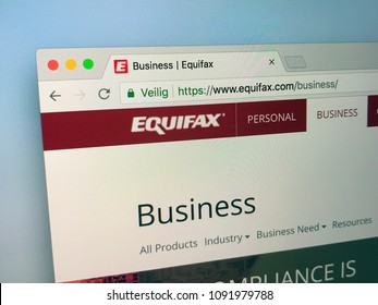 Amsterdam, Netherlands - May 15, 2018: Website of Equifax a consumer credit reporting agency. Equifax collects and information on over 800 million  consumers.