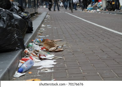 AMSTERDAM, THE NETHERLANDS - MAY 15: Garbage piled up during the week long workers strike that ended today. May 15, 2010, in Amsterdam, The Natherlands