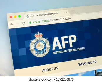 Amsterdam, Netherlands - May 16, 2018: Official homepage of The Australian Federal Police (AFP), the principal federal law enforcement agency of the Australian Government.