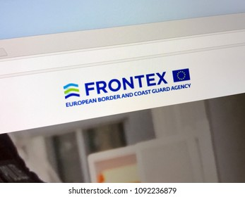 Amsterdam, Netherlands - May 16, 2018: Official homepage of The European Border and Coast Guard Agency, also known as Frontex. This European agency is tasked with border control of the European Union.