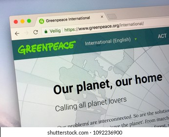 Amsterdam, Netherlands - May 16, 2018: Official homepage of Greenpeace, a non-governmental environmental organization with offices in over 39 countries, coordinated from Amsterdam, the Netherlands.