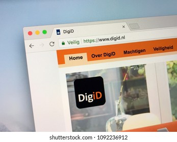 Amsterdam, Netherlands - May 16, 2018: Official homepage of DigiD, an identity management platform which Dutch government agencies use to verify the identity of Netherlands residents on the internet.