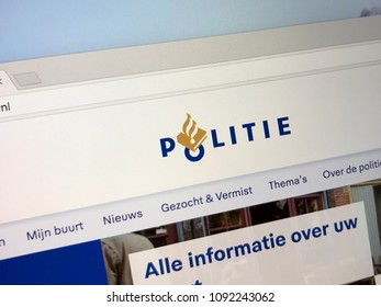 Amsterdam, Netherlands - May 16, 2018: Official homepage of Dutch National Police Dutch: Nationale Politie.