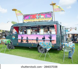 AMSTERDAM, THE NETHERLANDS - MAY 17, 2015: Mobile kitchen Cantina Mexicana serves popular Mexican cuisine during the annual mobile kitchens weekend, held in the city's Culture park.