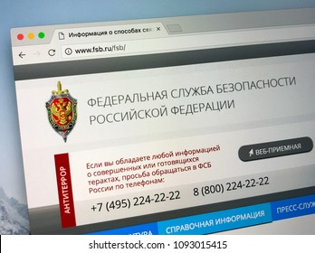 Amsterdam, Netherlands - May 17, 2018: Official homepage of The Federal Security Service of the Russian Federation, FSB, the principal security agency of Russia