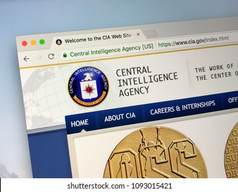 Amsterdam, Netherlands - May 17, 2018: Official homepage of The Central Intelligence Agency (CIA) is a civilian foreign intelligence service of the United States federal government