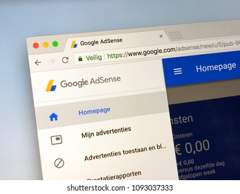 Amsterdam, Netherlands - May 17, 2018: Website of Google AdSense.