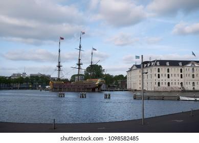 Amsterdam, Netherlands - May 17, 2018: view of Het Scheepvaartmuseum (Maritime museum) and VOC-schip De Amsterdam