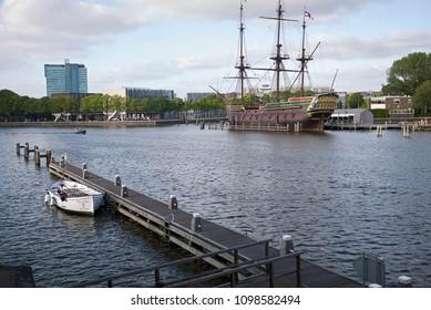 Amsterdam, Netherlands - May 17, 2018: View of VOC-schip De Amsterdam