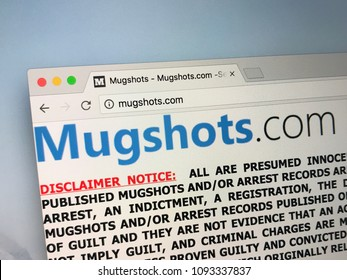 Amsterdam, Netherlands - May 18, 2018: Website mugshots.com. Mugshots a website that posts arrest records and booking photographs, on charges of extortion, money laundering, and identity theft.