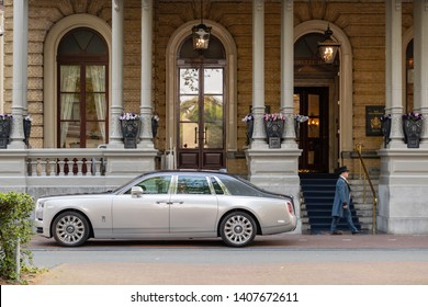 Amsterdam, The Netherlands - May 18, 2019: Rolls Royce Phantom at The Intercontinental Amstel Hotel Amsterdam