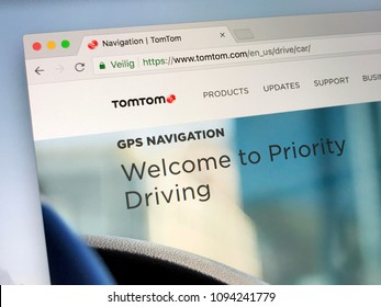 Amsterdam, Netherlands - May 19, 2018: Website of TomTom, a Dutch technology company specialized in GPS technology development for use in automotive, aviation and outdoor consumer products.