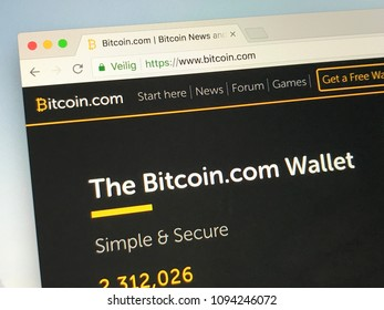 Amsterdam, Netherlands - May 19, 2018: Website of bitcoin.com, boitcoin is a company that provides Bitcoin services, such as purchasing and selling these cryptocurrencies.