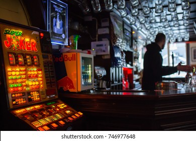 AMSTERDAM ,NETHERLANDS - MAY 2 ,2017: Slot machine for customer bar beer to use the game.