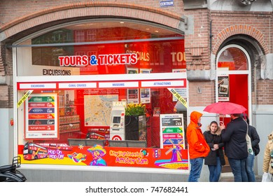 AMSTERDAM ,NETHERLANDS - MAY 2 ,2017: Tour and tickets shop for service customer and travel people in Amsterdam.