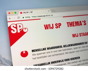 Amsterdam, Netherlands - May 20, 2018: Website of The Dutch Socialist Party (Dutch: Socialistische Partij), is a left-wing, democratic socialist political party in the Netherlands.