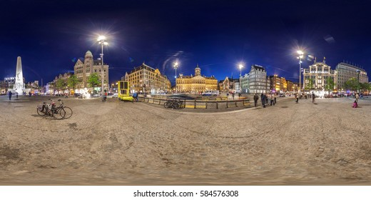AMSTERDAM, The Netherlands - May 2014: DAM SQUARE: Full 360 equirectangular spherical panorama. VR content