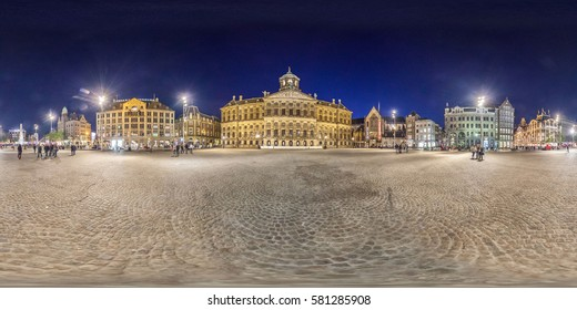 Amsterdam, The Netherlands - May 2014: Full 360 equirectangular spherical panorama view of Dam Square in Amsterdam. Virtual reality content
