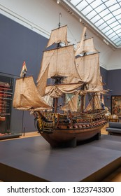 Amsterdam, Netherlands - May 2018: Model of the WIlliam Rex, a 17th century Dutch warship displayed at the Rijksmuseum