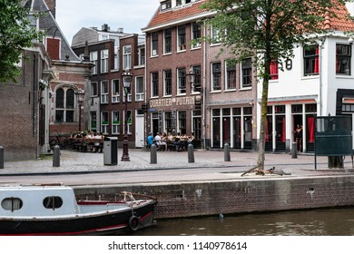Amsterdam, Netherlands, May 2018: Red Light area and the Quartier Putain (Prostitutes' area)
