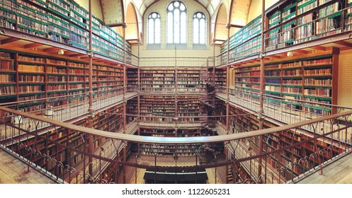 Amsterdam, Netherlands - May 2018: A shot of the Rijksmuseum Research Library, which is the largest public art history research library in the Netherlands.