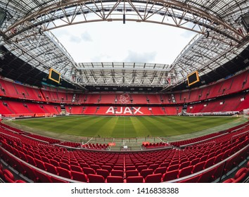 Amsterdam / Netherlands - May 2019: Johan Cruyff Arena preparing for the euro league match
