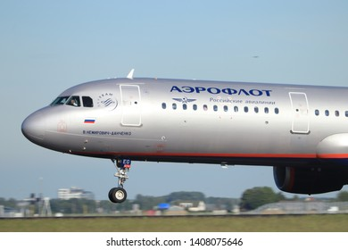 Amsterdam the Netherlands - May 24th, 2019: VP-BEG Aeroflot - Russian Airlines Airbus A321-200 takeoff from Polderbaan runway, Amsterdam Airport Schiphol