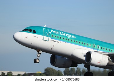 Amsterdam the Netherlands - May 24th, 2019: EI-DEC Aer Lingus Airbus A320-200  takeoff from Polderbaan runway, Amsterdam Airport Schiphol