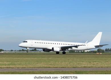 Amsterdam the Netherlands - May 24th, 2019: EI-GGB Stobart Air Embraer ERJ-195 takeoff from Polderbaan runway, Amsterdam Airport Schiphol