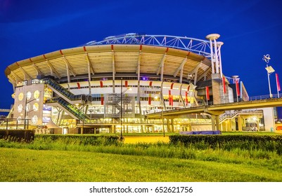 AMSTERDAM, NETHERLANDS - MAY 26, 2017: Amsterdam Arena stadium, the largest stadium in Netherlands. Home stadium for AFC Ajax and the Netherlands national team. Amsterdam - Netherlands.