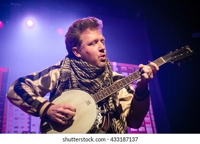 Amsterdam, The Netherlands - May 27, 2016: Andy Dunlop of Scottish rock band Travis performs live on stage at the Melkweg Music Hall.